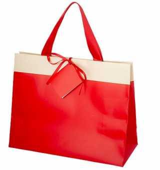 Shopping Bag                  ROT/CREME GROß