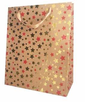 Geschenktragetasche           STERNENZEIT GOLD/WEISS