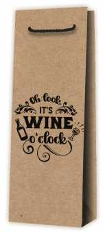 Tragetasche 1er Kraftpapier   Natur Wine o'Clock