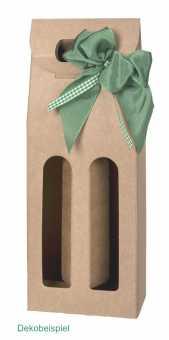 Tragekarton 2er OLIVIA NATUR  für schmale Flaschen