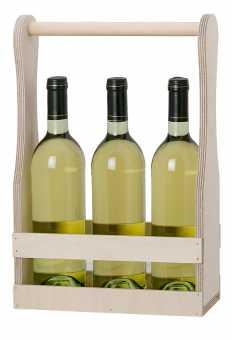 Holzflaschenträger            für 3 x 0,75 Ltr. Wein