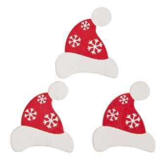 Holzsticker Weihnachtsmützen  mit Klebepunkt