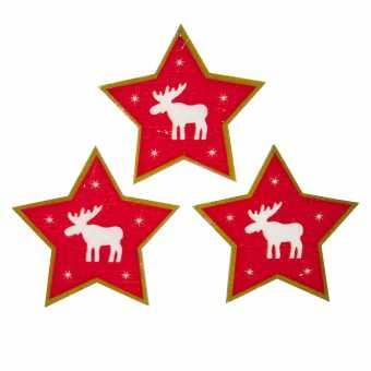 Holzsticker Stern Rot         mit Klebepunkt