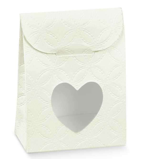 Gastgeschenk                  Geschenktüte Weiss  mit Herz
