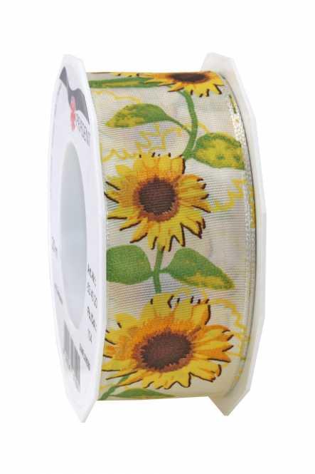 Geschenkband                  Sonnenblumen Creme