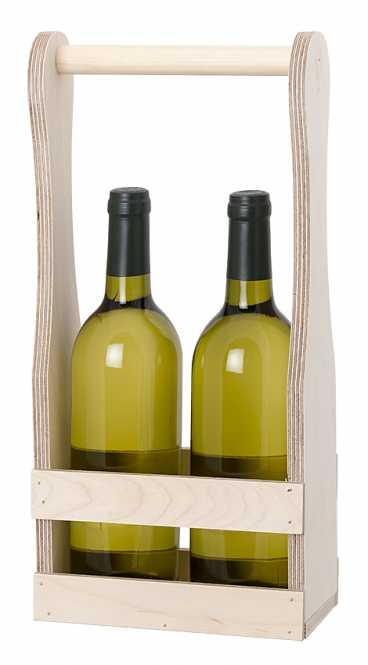Holzflaschenträger            für 2 x 0,75  Ltr. Wein