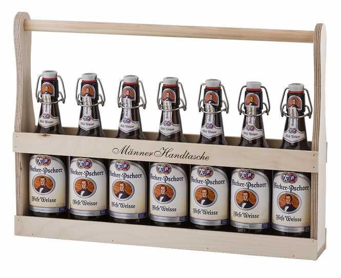 Holzflaschenträger 1/2 Meter  Männer Handtasche Bier