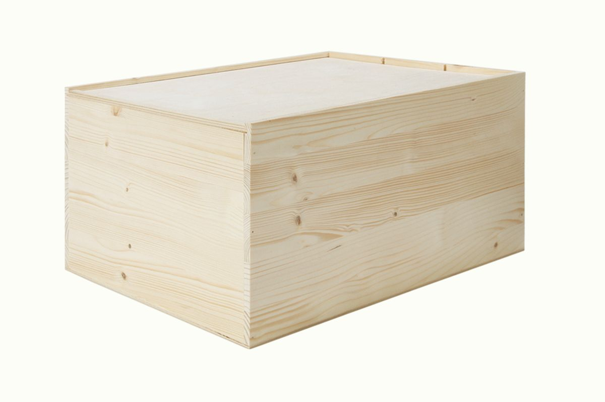 holzkiste 6er fein aus fichtenholz mit klappdeckel. Black Bedroom Furniture Sets. Home Design Ideas